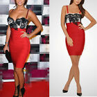 Sexy Womens Red Floral Lace Party Evening Cocktail Bandage Bodycon Mini Dress