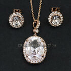A1-S017 Simulated Gem Necklace & Earring Jewelry Set 18KGP Swarovski Crystal