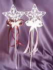 White/ Ivory Metal Star Shaped Ribbon and Butterfly Wand / Flowergirl accessorie