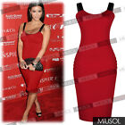 Womens Ladies Celebrity Style Casual Strappy Red Knee Bodycon Dresses Size 68102