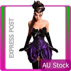 Ladies Purple Corset + Moulin Rouge Skirt Burlesque Costume Fancy Dress Up