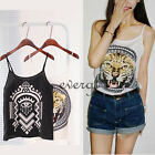 Women Adjustable Spaghetti Strap Tiger Print Tank Top Camisole Chiffon Top Shirt