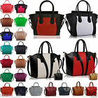 Women's Ladies Designer Leather Style Celebrity Tote Smile Stud Shoulder Handbag