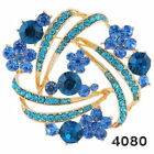 New Jewelry Prom Party Brooch Pin Gift Rhinestone Crystal Flower Gold Plated