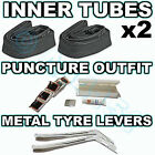 2 Inner tubes, Puncture Repair Outfit, Tyre Levers Pram Buggy Bike & Bent Valve