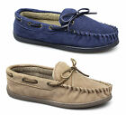Dr Keller SHEAMUS Mens Warm Suede Leather Lace-Up Moccasin Wide Boat Slippers
