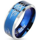 New Men's Stainlees Steel 2 tone Blue IP Tribal Inlay Band Ring,Sizes 9-13(0028)