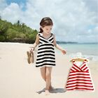New Kids Girls Princess Summer Beach Stripe A- Line Dress Braces Skirt Sundress