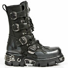 Newrock New Rock 591S2 Silver Flame Goth Boots Metallic Black Leather Boot Biker