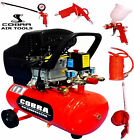 COBRA AIR TOOLS 25L LITRE AIR COMPRESSOR  2.5HP & 5 PCS KIT 8 BAR POWERFUL