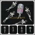 10x Metallic Rhinestone Dangles Charms 3D Nail Art Tips Decoration Collection