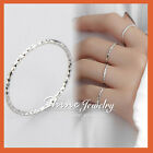 925 Solid Sterling Silver Ladies Girls Kids Patterned Thin Band Finger Midi Ring