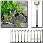 STAINLESS STEEL SOLAR POWERED LED GARDEN POST LIGHTS OUTDOOR RECHARGEABLE LAMPS