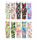 Womens Ladies Tropical Floral Bodycon Sleeveless Festival Pencil Midi Dress 8-26