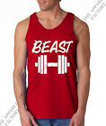 Men's BEAST Dumbell Red Tank top shirt gym workout exercise bodybuilding