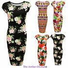 LADIES WOMENS CELEBRITY STYLE CAP SLEEVE TRIBAL FLORAL PRINT BODYCON MIDI DRESS