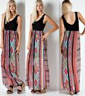 PRINTED BOHEMIAN MAXI DRESS Boho Long Sundress Tribal Summer Sleeveless S M L
