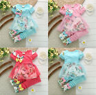 New Baby Girls Kids 2 Piece Floral Short Sleeve T-shirt Top Clothes Pants Outfit