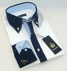 Brand New Mens Formal, Smart White with Navy Blue Collar Slim Fit Business Shirt