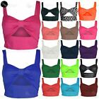 Womens Front Cut Out Ladies Strappy Bow Knot Vest T Shirt Bralet Boobtube Top
