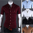 Mens Casual Luxury Slim Fit Summer Short Sleeve Button Dress T-Shirts Tee Tops