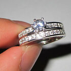 Sz 6-9 Jewelry 925 Silver Filled White Sapphire Lady Wedding Couple Ring Set HOT