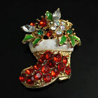 Red Crystal & White Green Enamel Christmas Stocking with Holly Boot Brooch Pin