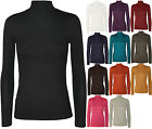 Womens Ladies Office Turtle Neck Long Sleeves Bodycon Jersey StretchT Shirt Top