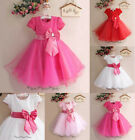 HOT PINK GIRLS Bridesmaid Dress with Bow Childrens Princess White Wedding Party
