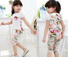 Toddler Baby Girls T-shirt Shorts sets Flower Kids Outfits Summer Tops Tees #XB2