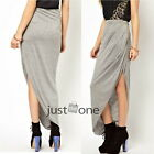 Stylish Womens Open Side Split Summer Soft Cotton Blend Irregular Hem Long Skirt