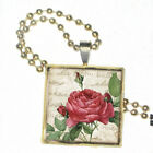 "Red Rose Blossom on Parchment on Crystal Pendant with 24"" Matching Ball Chain"