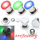 Pair LED Light Stainless Steel Screw Plugs Tunnel Expander Earlets Gauge