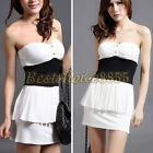Women Lady Chest Wrapped Slim Fit Splice Peplum Mini Dress Gown Evening Party