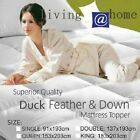 Washable 650gsm Duck Feather Down Mattress Topper Underlay