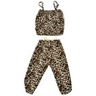 Baby Girls Kids Leopard Backless Tube Tops Shirt Clothes and Long Pants Outfits