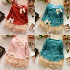 Kids Baby Girls Long Sleeve Knit Top Lace Bow Princess Tutu Tulle Dress Skirt WS
