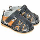 Boys Toddler Childrens Real Leather Squeaky Shoes Sandals - Black & Orange