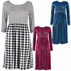 Womens Ladies Long Sleeve Metallic Knitted Check print Midi Skater Dress 8-14