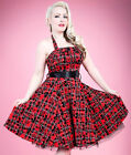 New Hearts & Roses Red Tartan Anchor Long Dress. Retro Rockabilly Goth Emo Punk