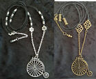 LONG PENNY FARTHING NECKLACE CHOOSE BRONZE, SILVER & LENGTH VINTAGE BICYCLE BIKE