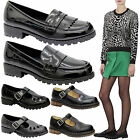 Ladies Women Retro Chunky Cleated School Sole Work Loafers Boots Shoes Size