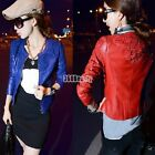 Spring Womens Lace Crochet Washed Artificial Leather Outerwear Coat Jacket B5UT