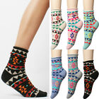 Multi Colored Geometric Tribal Cotton Ankle Socks Women Girls 1pair or 5 Lot