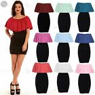 Womens Ruffle Frill Ladies Contrast Off Shoulder Bodycon Mini Dress Peplum Top