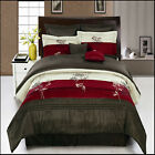 Portland Burgundy/Champagne with Coffee and burgundy 8-Piece Comforter Set