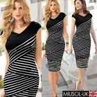 Womens Contrast Black and White Striped Bodycon Pencil Casual Dresses Size681024