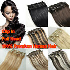 "Sexy Long Straight 8PCS Full Head Remy Real Human Hair Extensions 16""-24""Clip in"
