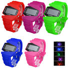 Women Men Military Plane Style LED Digital Display Silicone Strap Wristwatch