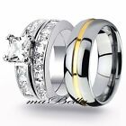 Sparkle Copule 3Pcs His Tungsten Her Stainless Steel Engagement Wedding Ring Set